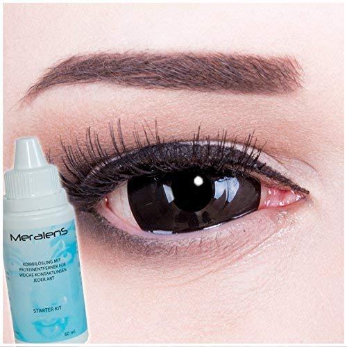 Black Sclera 22mm Kontaktlinsen in schwarz, weich ohne Stärke, 2er Pack inkl. 60ml Pflegemittel - Top-Markenqualität, farbige angenehm zu tragen und perfekt zu Halloween oder Karneval