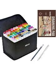 Marker do rysowania pióro do animacji szkicowania zestaw markerów z podwójną końcówką dla artysty markerów graficznych mangi, zestaw pędzli z markerem A5 (60 kolorów)