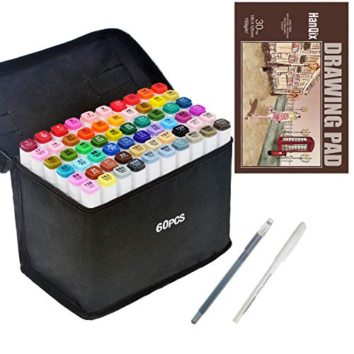 Set di pennarelli a doppia punta, per disegno, animazione, per artisti, manga, grafici, confezione da 60 colori, con blocco di carta in formato A5