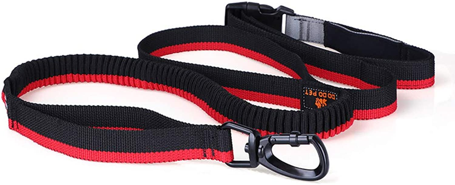 Nylon Dog Leashes Hands Free Dog Leash with Ergonomic Waist Belt Bag 260cm Waist Dog Leash Adjustable Strap for Running Jogging Waking Ideal for Medium to Large Dogs Durable Pet Cord Leash