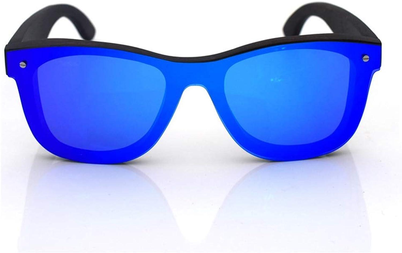 Kirabon Wood Polarized Sunglasses for Men and Women (color   bluee+Ebony)