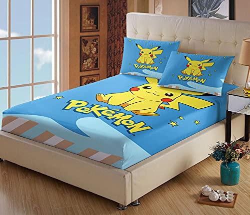 Drap Housse 140x190 Microfibre - Pokémon Drap Housse - Impression Numérique 3D - Convient à Toutes Les Saisons - avec 2 Taie d'oreiller(140*190+65*65cm*2,Pokémon 4)