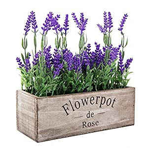 Flojery Artificial Lavender Flowers with Silk Flocked Fake Lavender Plant for Wedding Home Table Centerpiece Decor