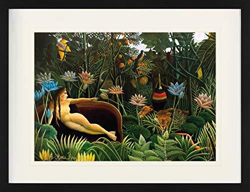 1art1 Henri Rousseau - Der Traum, 1910 Gerahmtes Bild Mit Edlem Passepartout | Wand-Bilder | Kunstdruck Poster Im Bilderrahmen 80 x 60 cm