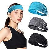 Fitness Headbands Elastico Sport Parasudore 3 Pezzi Unisex Fascia per il Sudore Fascia Antiscivolo per Jogging, Corsa, Escursionismo, Yoga, Tennis