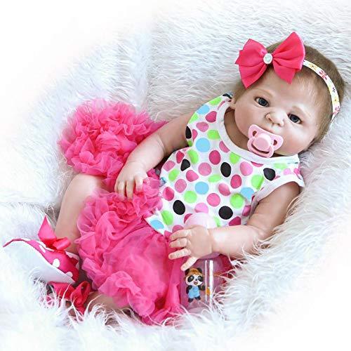 iCradle Reborn Baby Dolls 18 Pulgadas 45cm Muñecas Reborn Cuerpo Entero Silicona Realista Suave de Vinilo Lifelike Chica Bebé Reborn Niña Nacido Regalo de Juguete (Pink Headband)