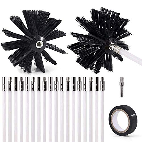 Chimney Sweeping Kit 22-Piece 24 Feet Dryer Vent Brush Lint Remover Drill Includes 2 Nylon Brush Heads 18 Rods 1 Drill Connector and 1 Tape