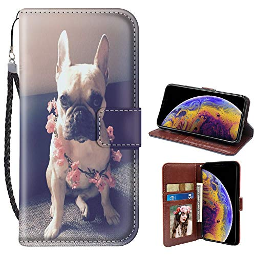 Pingge iPhone Xr Wallet Case French Bulldog with Pink Flowers Lightweight Slim Shockproof Cellphone Case Cover with Card Slots Kickstand for iPhone Xr