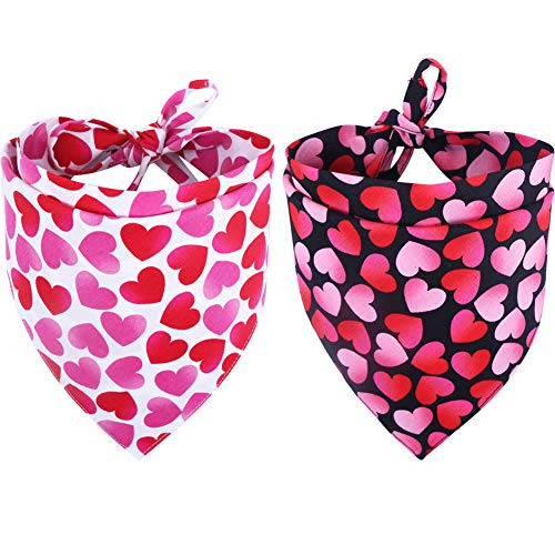 KZHAREEN 2 Pack Valentine's Day Dog Bandana Reversible Triangle Bibs Scarf Accessories for Dogs Cats Pets Small