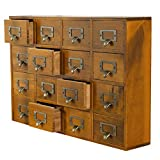 Primo Supply Desk Drawer Organizer - Wooden Storage Box with 16 Drawers - Home Office Desk Organization and Storage - Rustic Storage Drawers Dressers for Bedroom - Traditional Apothecary Cabinet