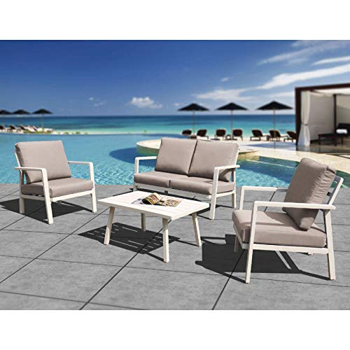 HL Outdoor Patio Furniture Aluminum Frame 4-Piece Cushioned Conversation Set with Coffee Table, Modern Chat Set Home Crested Bay Furniture (Beige)