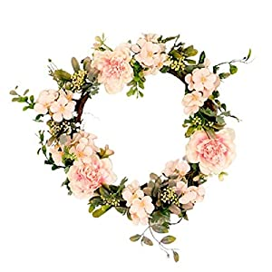Camellia Hydrangea Wreath, Wall Hanging Home Artificial Flower Decoration Spring Hand-Decorated Wall, for Home Wall, Window, Staircase,Door Décor, Party Décor