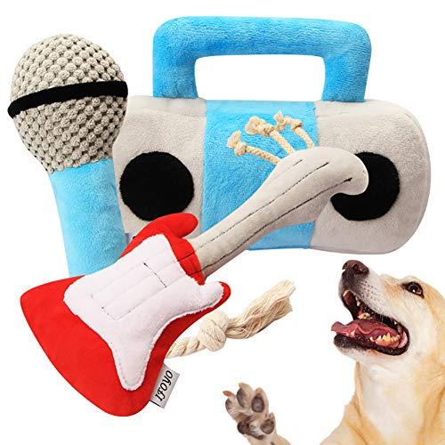 Kelong Juguetes de peluche para perro, 3 piezas, juego de juguetes para masticar perros, serie de instrumentos musicales