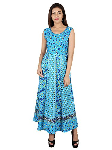 Bajrang Textiles Women's 100% Pure Cotton Jaipuri Printed Maxi Dress/Ancle Lenth Gown Ethnic Wear (Free Size)