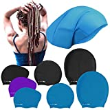 SWIM ELITE Large Silicone Swimming Cap for Long/Extra Long Hair, Dreadlocks, Braids, Weave on, Hair extension, Afro (Turquoise, Large)