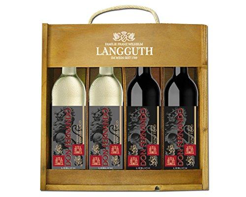 Don Fernando Spanische Holzkiste Lieblich (4 x 0.75 l) Weingeschenk Rotwein Weißwein Spanien