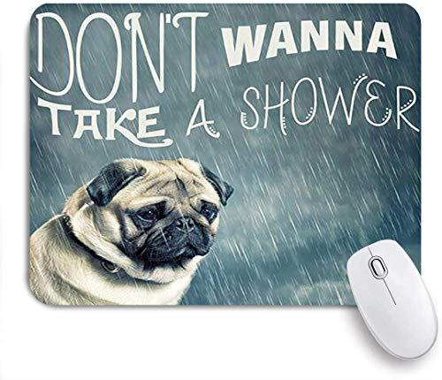 Gaming Mouse Pad, Vintage Tier Mops Hund Welpe Im Regen Nicht Duschen Wollen, Rutschfeste Gummi Backing Mousepad