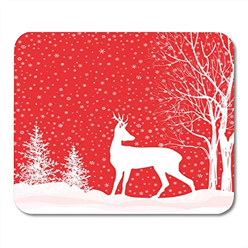 Semtomn Gaming Mouse Pad Blizzard Christmas Snow Winter Landscape Deer Merry Forest Decor Office Computer Accessories Nonslip Rubber Backing Mousepad Mouse Mat
