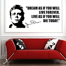 Stycars®, Wall Stickers Wall Decal James Dean Usa Actor Quotes Dream As If You Will Vinyl Wall Art Sticker Home Decoration Curving [Size: 42x96cm]