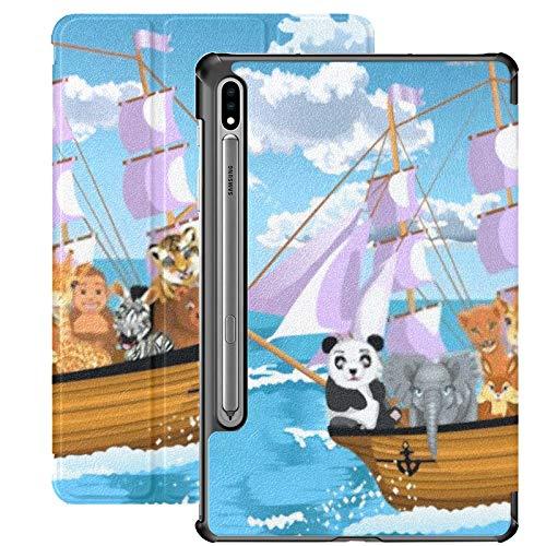 Custodia Galaxy Tablet S7 Plus da 12,4 pollici 2020 con supporto per penna S, animali che galleggiano sulla nave Custodia protettiva Folio sottile per Samsung