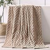 Whale Flotilla Soft Flannel Fleece Lightweight Throw Blanket(50x60 Inch), Brushed Chevron Design Fluffy Plush Cozy Blanket for All Seasons, Champagne