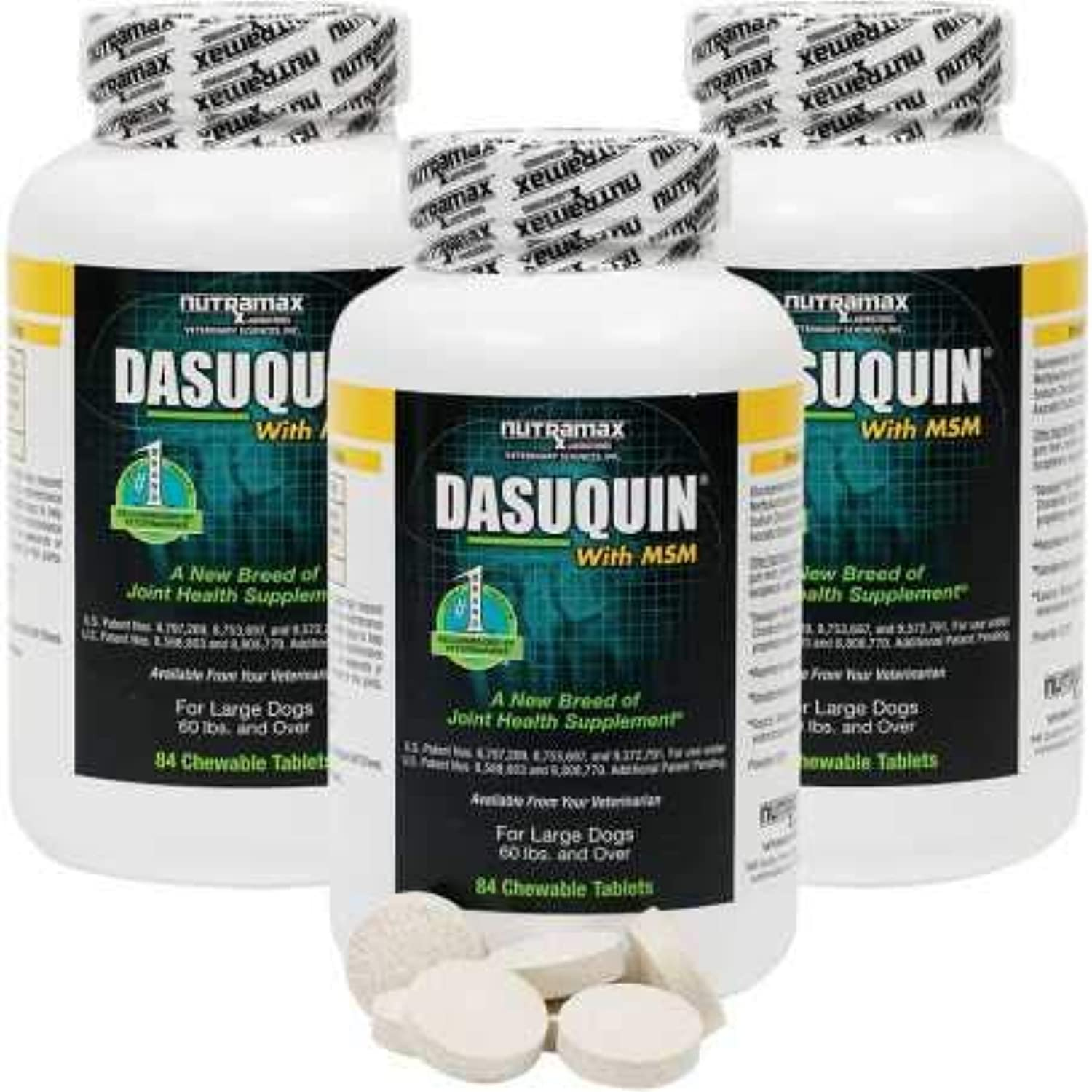 Dasuquin 3PACK for Large Dogs 60 lbs. Over with MSM (252 Chewable Tabs)