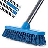 MEIBEI Floor Scrub Brush with Adjustable Long Handle-54 inch, Stiff Bristle Grout Brush Tub and Tile Brush for Cleaning Bathroom, Patio, Kitchen, Wall and Deck