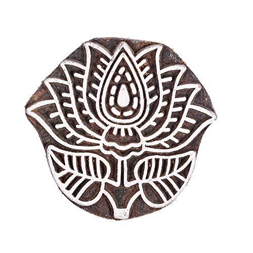 GroupB Bloques de impresión de madera – Sello de madera tallada a mano con diseño de loto para impresión de tejidos, arcilla cerámica, artesanías, álbumes de recortes y más – Design7
