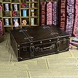 NTR Leder Koffer Box Vintage Koffer Reisetasche Gepäck Foto Shop Dekoration, Braun, Mittelgroß