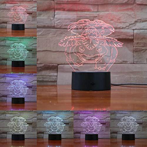 Lámpara 3D de dibujos animados Figuras Venusaur Luz de noche Bulbasaur Flores Bombilla LED Multicolor ns Gift Kid Toy Boy Table