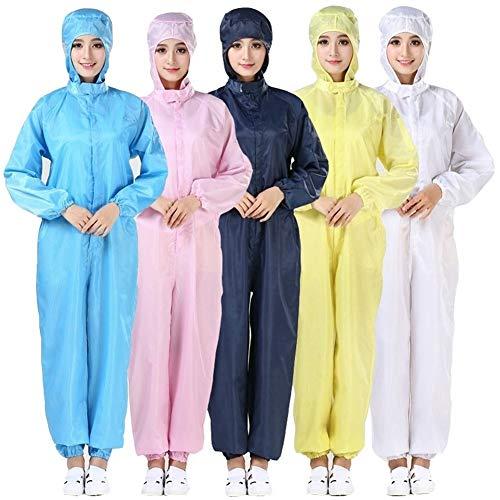 Attrezzatura di Protezione Indumenti di Protezione Tuta Polvere Antistatico sistemica Vestiti puliti Camici puliti Indumenti protettivi Blu Bianco (Color : Pink, Size : M)