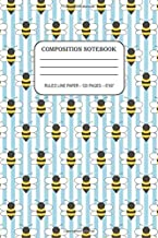 Composition Notebook – Bees and Lite Blue Stripes: Ruled Blank Lined Cute Notebook for Gils and Teens ¦ Writing Journal ¦ ...