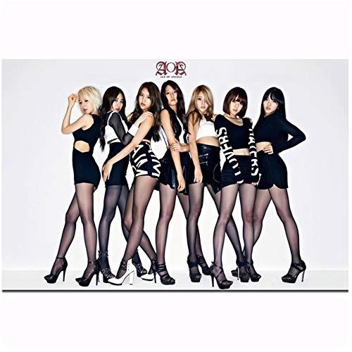 Posters en Prints AOA KPOP Koreaanse Sexy Schoonheid Meisjes Pop Muziek Groep Art Poster Canvas Schilderij Home Decor-50x70cm Geen Frame