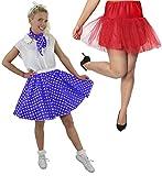 Disfraz de polka para mujer, falda de lunares azul con falda roja y falda roja (azul con puntos blancos y falda baja)