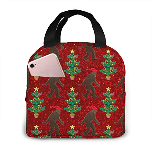 Lunch Bag Christmas Yeti Bigfoot Forest Tote Bag Insulated Lunch Box Water-Resistant Cooler Bag For Men/Women/Picnic/Boating/Beach/Fishing