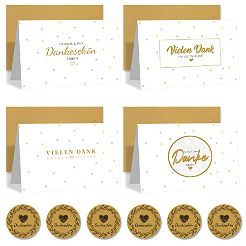 12 Danke Karten Bunte 4 Designs Grußkarte Innen Leere Dankeschön Karte Dankeskarten mit Umschlägen und Aufkleber Set Karte Danke für Alles