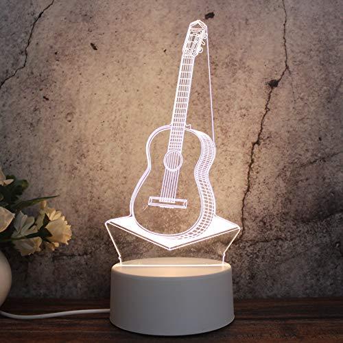 3D-nachtlampje Praktisch cadeau Cadeau Vakantie cadeau Gitaar