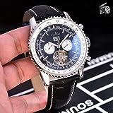 Luxury Men Orologi Meccanici Automatici Black Blue Leather Tourbillon Orologio Sportivo Trasparente Double Calendar AAA +Nero