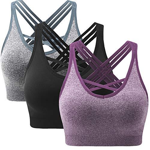 ANGOOL Damen Sport BH ohne Bügel Gepolstert Yoga Bra Kreuz Rücken Sport Bustier für Jogging Fitness , Schwarz+grau+violett , M