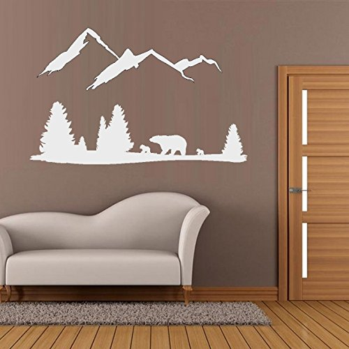 BestPricedDecals Bear Mountain Scene ~ Wall or Window Decal (White)