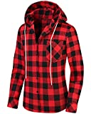 Uillnoodu Womens Flannel Plaid Shirts Long Sleeve Regular Fit Button Down Casual Cotton, Red and Black Plaid Hoodie with Pocket, M