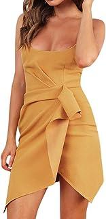 88ba7b0c03 4Clovers Women Sexy Bodycon Mini Club Dress Casual Sleeveless Spaghetti  Strap Ruched Irregular Ruffles Hem Party