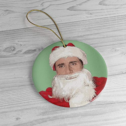 Lplpol Santa Michael Scott Christmas Ornament | The Office Fan Gift| Ceramic Memento | Xmas Tree Hanging Pendant | OtY1252