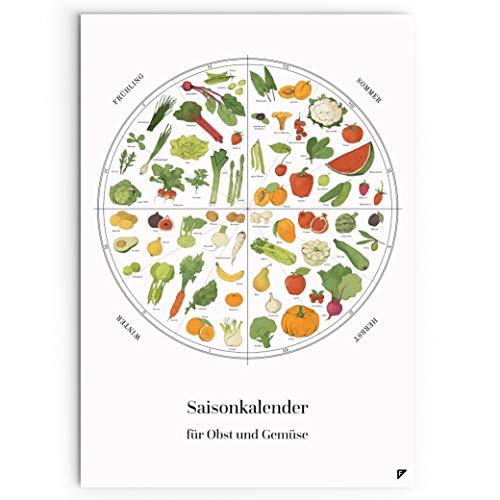 Follygraph Saisonkalender für Obst und Gemüse Poster A2