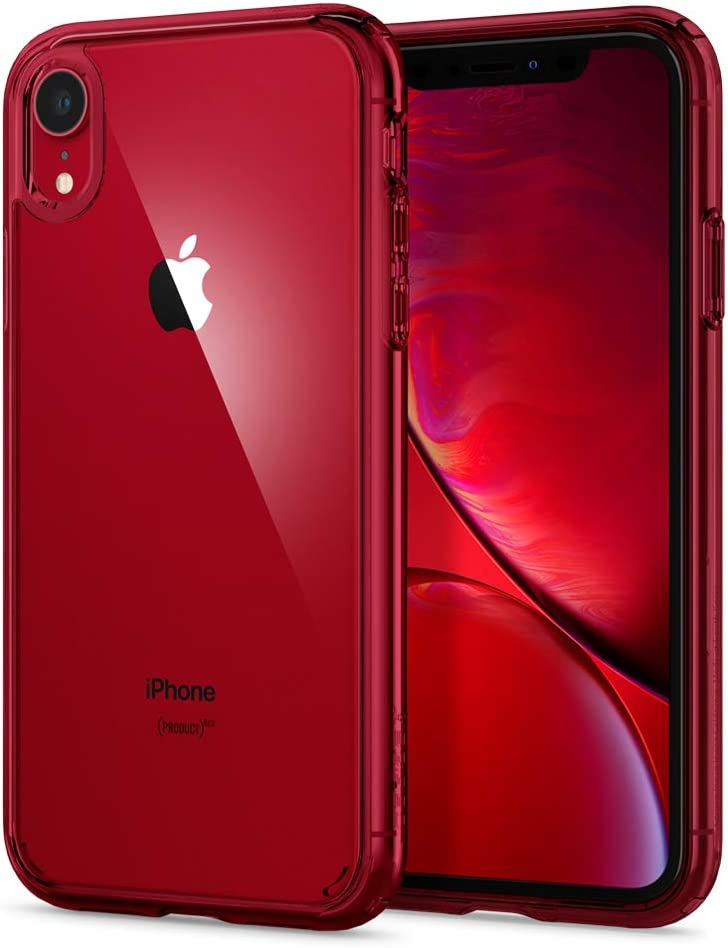Spigen Ultra Hybrid [Anti-Yellowing] [Military Grade] Designed for iPhone XR Case, 6.1 inch Cover - Red