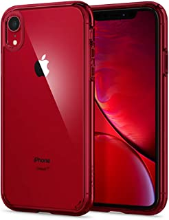 【Spigen】 スマホケース iPhone XR ケース 6.1インチ 対応 [ニューカラー] 背面 クリア 米軍MIL規格取得 耐衝撃 カメラ保護 衝撃吸収 Qi充電 ワイヤレス充電 ウルトラ・ハイブリッド 064CS25346 (レッド)