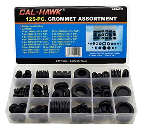 Cal-Hawk AZGA125 Rubber Grommet Assortment Set, Black