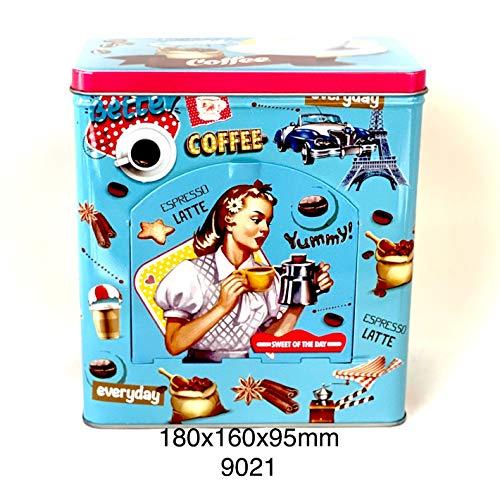 Bote de Metal Retro Para Cafe Caja Coffee Estilo Vintage Con Tapa y Dispensador...