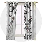 Aishare Store Set of 2 Panels 84 Long Inches Noise Reducing Window Drapes, Surrealistic,Steampunk Bird Mech, Room Darkening Thermal Insulated Curtains for Living Room