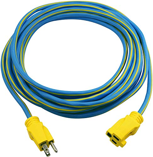 Clear Power 25 ft Outdoor Extension Cord 14/3 SJTW, Blue&Yellow, Water & Weather Resistant, Flame Retardant, 3 Prong Grounded Plug